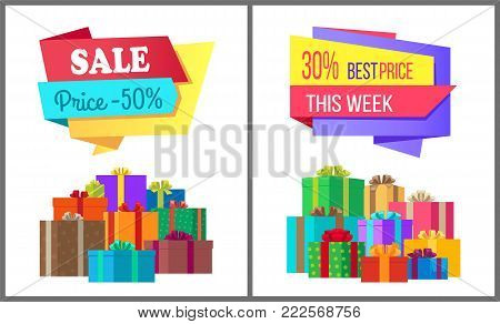 Sale price 50 best offer this week special exclusive posters with piles of gift boxes wrapped in decorative color paper, topped by bows vector banners