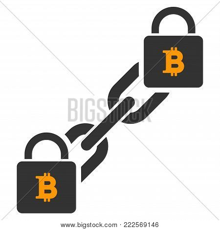 Bitcoin Blockchain vector icon. Style is flat graphic symbol.