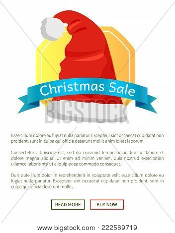 Christmas sale off promo label Santa Claus hat advertisement badge with red winter headwear icon and information about discounts vector poster