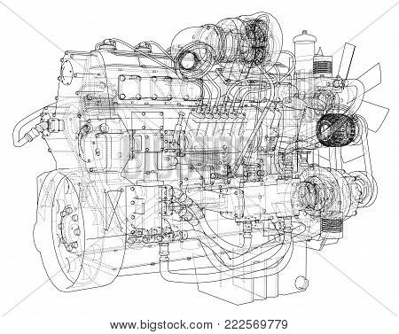 Car engine. Vector EPS10 format, rendering of 3d