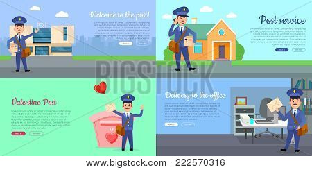 Delivery service web banners set with cartoon postman. Postal courier near post building flat vector illustration. Mailman delivers letter in office, parcel home and romantic postcards on Valentine