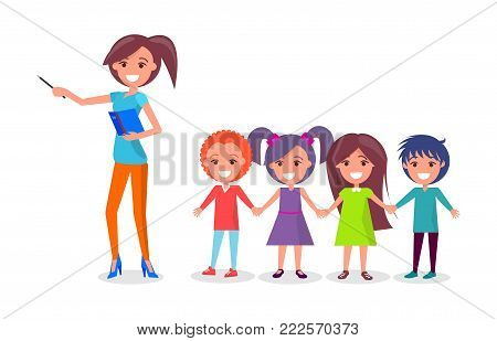 School children on excursion with woman guide vector illustration isolated on white background. Boys and girls holding hands and listen to conductor