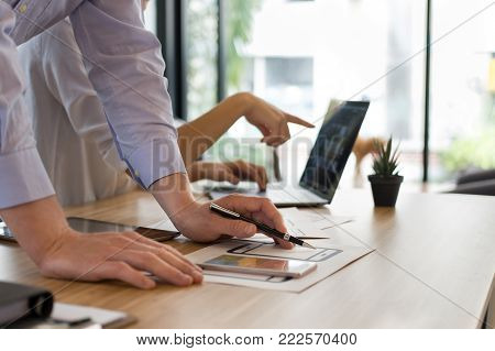 User Experience, Ux Designer Designing Web On Smartphone Layout. Ui Teamwork Planning Mobile Applica