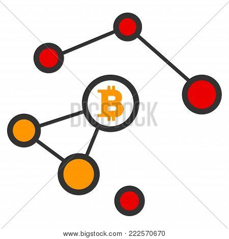 Bitcoin Damaged Network vector icon. Style is flat graphic symbol.