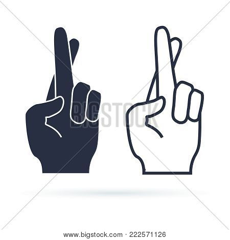 Fingers crossed, hand gesture. Lie, on luck, superstition symbol or modern icon. Vector illustration. Black hand silhouette and line vector sign.
