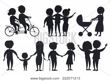 Happy grandparents senior couple silhouettes isolated on white. Dark icons of mature people riding on bike, hugging and walking with kids, adult son