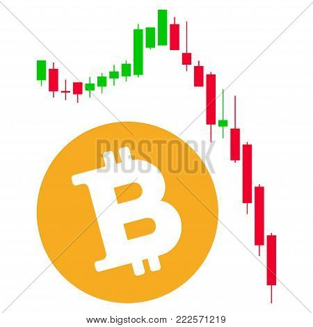 Bitcoin Epic Fail Chart vector icon. Style is flat graphic symbol.