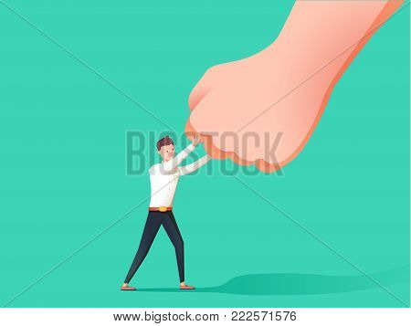 Business concept vector illustration of a businessman holding a giant punching hand. Financial stress abstract picture. Man under Pressure.