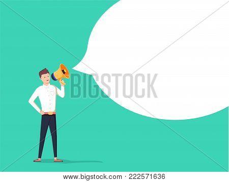 The Message. Businessman communicates through a megaphone. Concept business illustration. Advertisement poster. Happy young Man passing bubble message