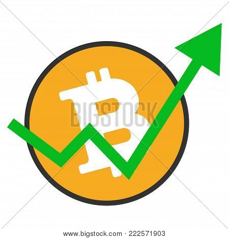 Bitcoin Growth Trend vector icon. Style is flat graphic symbol.