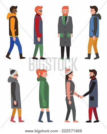 Citizens collection of icons, people wearing warm clothes in cold weather, friends and handshake, woman with ponytail isolated on vector illustration
