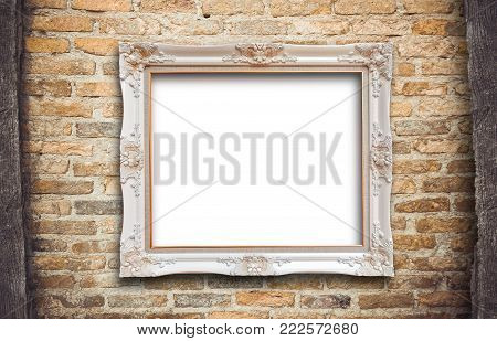 Old vintage rutic wooden picture frame on wall background with space use for texts or pictures display or show