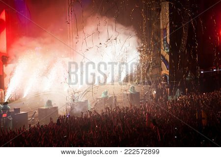 Cluj-Napoca, Romania - August 6, 2017:  Crowd having fun at Afrojack, a Dutch DJ, record producer and remixer from Spijkenisse, live concert at Untold Festival, the Best Major Music Festival of Europe