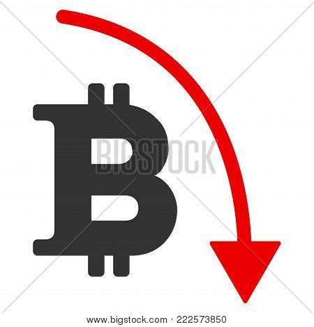 Bitcoin Reduction Trend vector icon. Style is flat graphic symbol.