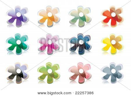 Set of flower icons (buttons)