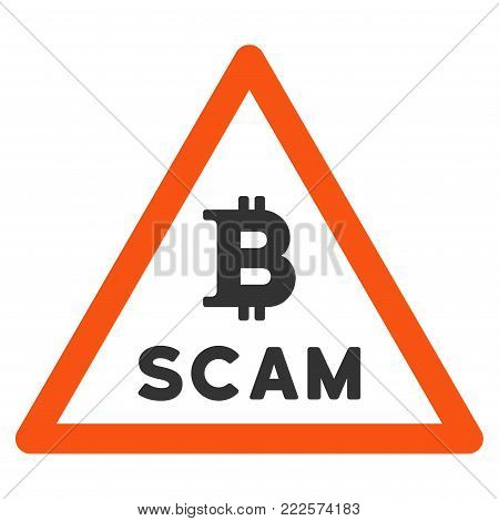Bitcoin Scam Warning vector icon. Style is flat graphic symbol.