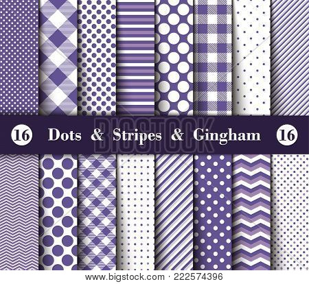 Set of Seamless Polka Dots, Gingham, With Large and Small Lines and Diagonal Stripes in Ultra Violet and White Color. Color of the Year 2018. Vector Illustration