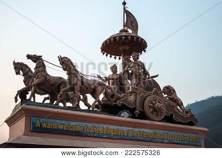Rishikesh, India - March, 23rd, 2015. Monument In Parmath Niketan, Rishikesh