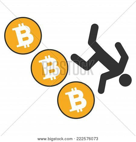Person Fall Down Bitcoins vector icon. Style is flat graphic symbol.