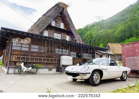 Gifu, Japan - May 16, 2016: The Mazda Cosmo At Gokayama (world Heritage Village In Japan). The Mazda