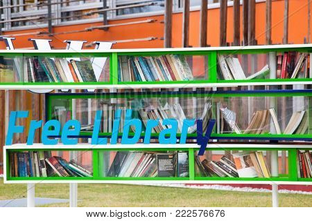 VIENNA, AUSTRIA - JANUARY 15, 2018: Free library outside of Vienna University of Economics and Business (Wirtschaftsuniversitat Wien) is the largest Business University in Europe.