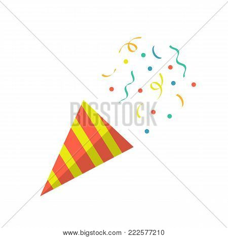Party popper with confetti isolated on white background. Vector stock.