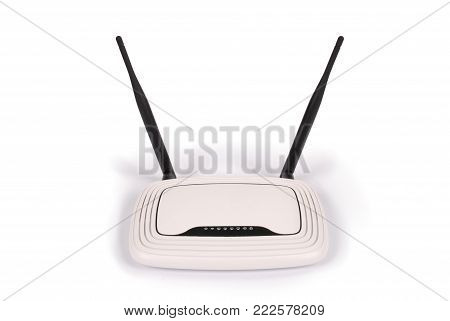 White WI-FI router with two antennas isolated on white background with clipping path