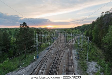 summer lanscape, railroad view from above at sunset