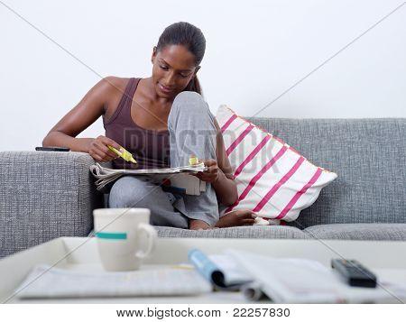 Beautiful Woman Doing Job Hunting At Home