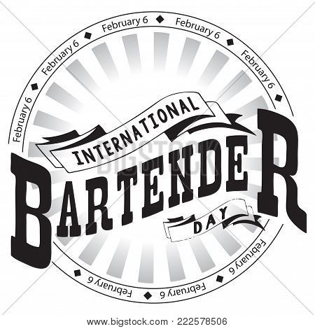 Stamp imprint for the holiday 6 February International Bartender's Day