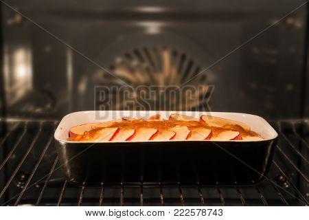 pie is being prepared in the hot oven