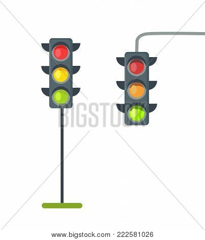 Icons depicting typical horizontal traffic signals with red light above green and yellow between isolated vector illustration on white