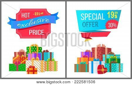 Hot exclusive price special offer sale posters with piles of gift boxes wrapped in decorative color paper, topped by bows vector illustration banners
