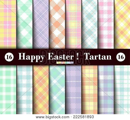Sixteen Set of Easter Tartan Seamless Patterns. Collection of Plaid with Yellow, Blue, Green, Pink, Red, Lilac, Purple and White Pastel Colors. Trendy Tiles Vector Illustration for Wallpapers.