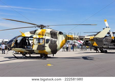 BERLIN, GERMANY - MAY 21, 2014: New US Army Eurocopter UH-72 Lakota helicopter at the International Aerospace Exhibition ILA in Berlin, Germany.