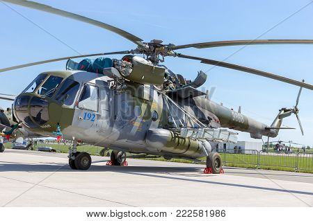 BERLIN, GERMANY - MAY 21, 2014: A Czech Air Force Mi-171Sh helicopter on display at the International Aerospace Exhibition ILA.