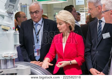 BERLIN, GERMANY - MAY 21, 2014: Federal Minister of Defence of Germany, Ursula von der Leyen at the International Aerospace Exhibition ILA.