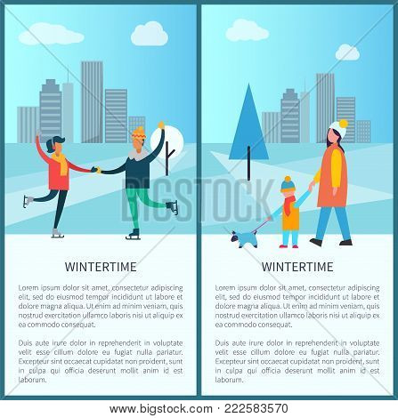 Wintertime poster happy couple dancing on skates, having fun together, mother and son walking with pet vector winter activities near skyscrapers