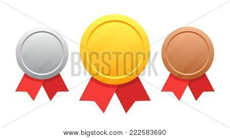 Set of medals gold, silver, bronze vector illustration isolated on white background