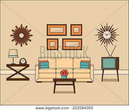 Retro room interior in flat design. Living room in line art. Linear vintage illustration. Vector graphics. Thin line home space with sofa, TV and coffee table. House equipment 1960s.