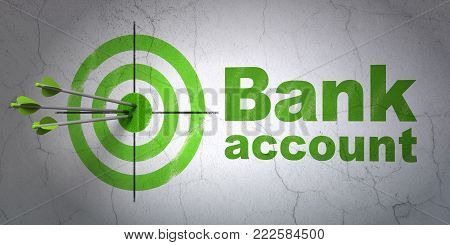 Success banking concept: arrows hitting the center of target, Green Bank Account on wall background, 3D rendering