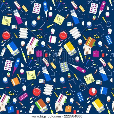 Seamless Pattern Pharmacy Drugs Background. Medicine Icon Pills, Capsules, Vitamins Medical Tablets.
