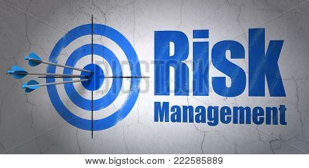 Success finance concept: arrows hitting the center of target, Blue Risk Management on wall background, 3D rendering