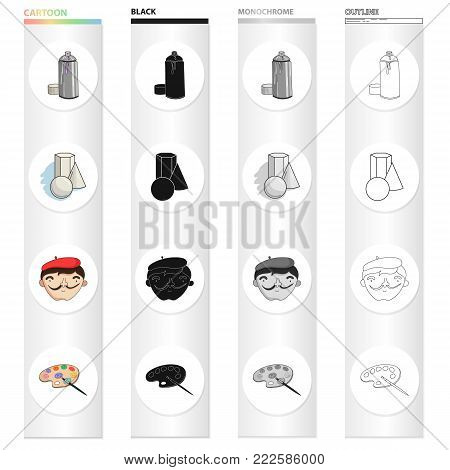 Pulverizer with paint, still life, the artist's appearance, a palette for drawing. Artist and drawing set collection icons in cartoon black monochrome outline style vector symbol stock illustration .