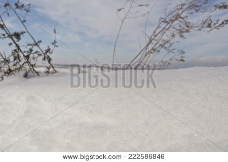 Snow and dry grass. Natural background. Winter background. Snowy background. Winter landscape. Snow background. White snow. Snow style. Snowdrift. Snow horizon.