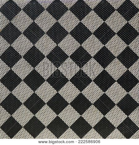 Plastic texture in the form of a very small cloth binding, painted in black and gray in the style of a chessboard. Macro shot poster