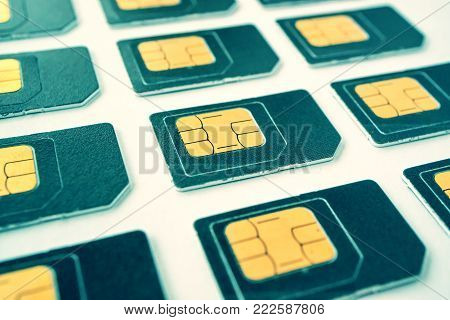 SIM card on a white background, gray card, blue tinted, a number of cards for phones
