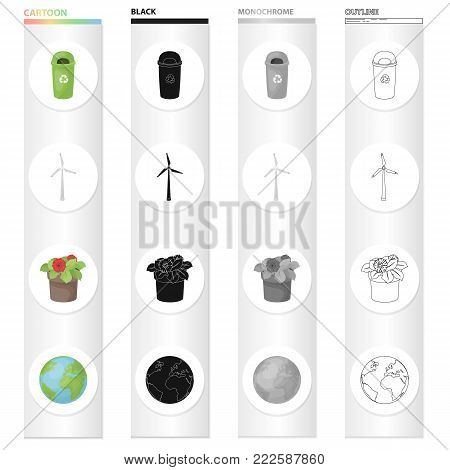 Garbage can, ecological wind generator, flower in the pot, planet Earth. Ecology set collection icons in cartoon black monochrome outline style vector symbol stock illustration .