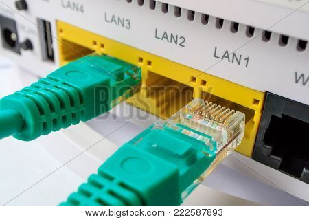 the green connectors for the Internet included in a router, home Internet