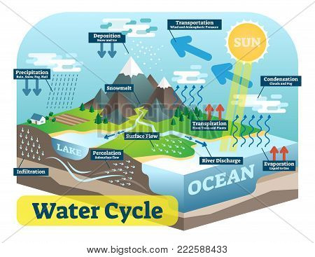 Water cycle graphic scheme, vector isometric illustration with water bodies and geological relief. poster